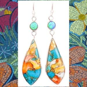 2-$20 Stunning Mosaic Turquoise+Fire Opal Earrings